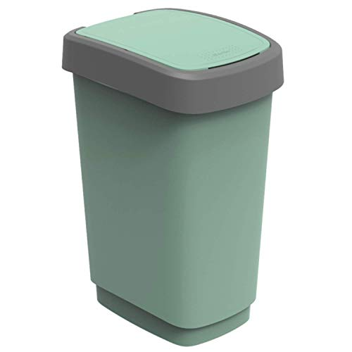Rotho Twist Mülleimer 25l mit Deckel, Kunststoff (PP recycelt) BPA-frei, grün, 25l (33,3 x 25,2 x 47,6 cm)