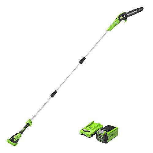 Greenworks de 40 V 20 cm Sierra de Poste, Velocidad de Cadena de 9,8 m/s, Longitud Hasta 2,8 m (con 2Ah Batería y Cargador)