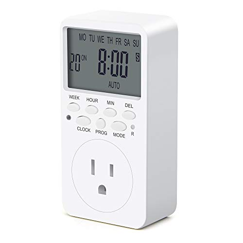 Outlet Timer, 7 Day Wall Plug in Light Timer Outlet, CANAGROW Indoor Digital Programmable Timers for...