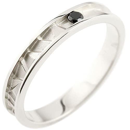 [アトラス]Atrus リング メンズ 18金 ホワイトゴールドk18 ブラックダイヤモンド ピンキーリング 4月誕生石 ストレート 指輪 18号