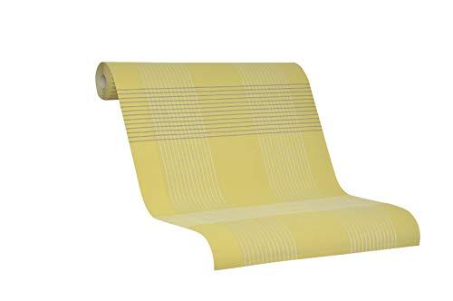 Vliesbehang met strepen - gestreept lineair en gele behang - architectonisch voor woonkamer, slaapkamer of gang - lichtgoud, geel, groen en grijs - zilver effect - Made in Germany - Novamur