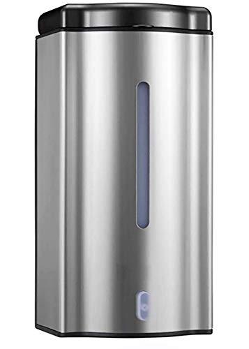 MASMAS Dispensador de Jabón Automático de Pared Manos Libre con Sensor Infrarojo de Acero Inoxidable 600ML, Jabonera Eléctrica sin Contacto, Limpiador de Manos Líquido Montado en la Pared para Baño