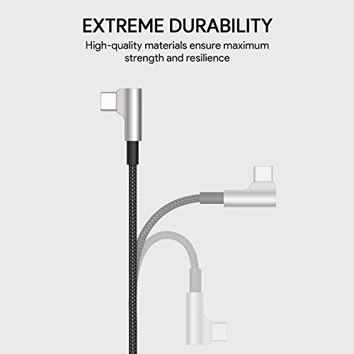 AUKEY - Cable USB C de 90 grados, ángulo recto, USB C a USB A de carga rápida, fibra de aramida, trenzado de nailon, tipo C, cable de carga para iPad Pro 2018, Samsung S9 S8 Note 9, LG G6, Pixel 3 XL,