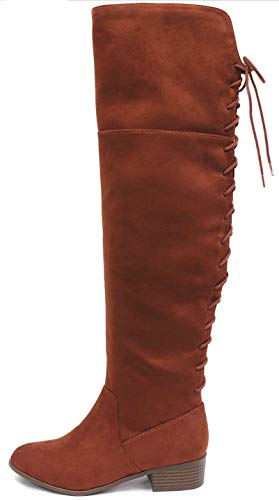 MVE Shoes Women's Over The Knee Back Lice Up Flat Boots 3