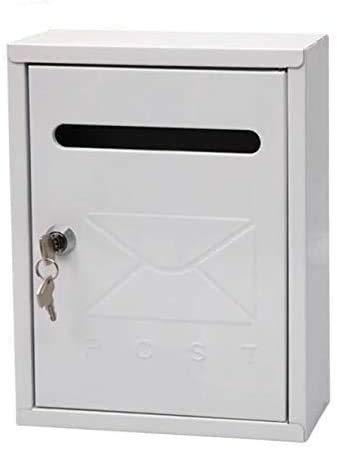 Buzón de acero para pared exterior en varios colores y tamaño reducido (26x7,5x20cm) con cerradura y llaves (Blanco)