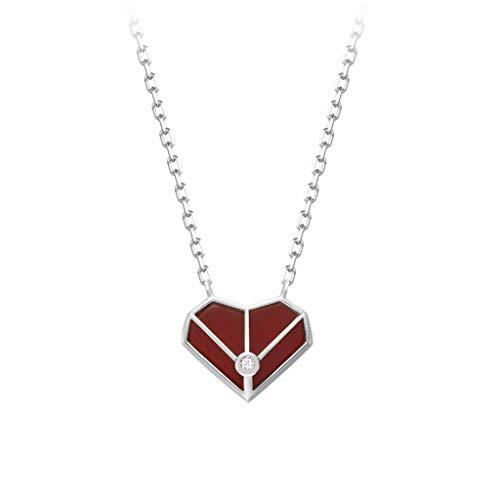 WUHE Collar de plata de ley con forma de corazón rojo pequeño, collar de clavícula, de lujo y luz para mujer, día de San Valentín (color: collar de plata)