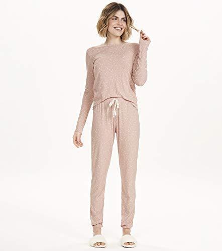 Pijama manga longa em ribana Cor Com Amor, rosa, GG