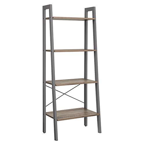 VASAGLE Standregal, Bücherregal, Leiterregal mit 4 Ebenen, Metall, stabil, einfache Montage, für Wohnzimmer, Schlafzimmer, Küche, Industrie-Design, greige-grau, LLS44MG