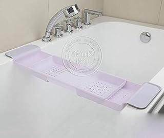 バスタブトレー バスタブラック 浴室用ラック バステーブル バスラック 伸縮式 ズレ防止 大容量 水切り お風呂用品 (粉色)