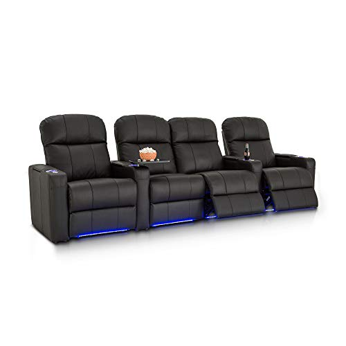 Seatcraft Venetian Home Theater Seating - Top Grain Leather - Power Recline - Tray Tables - In-Arm Storage - Ambient Base Lighting - Lighted Cupholders - USB Charging (Row of 4 Middle Loveseat, Black)