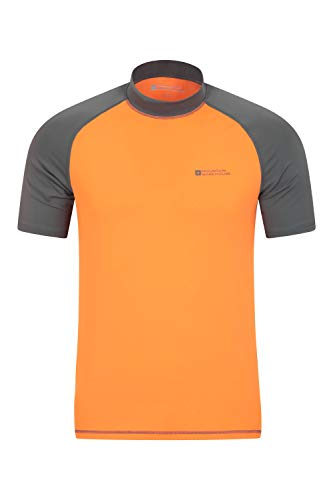 Mountain Warehouse Camiseta térmica con protección Solar UV para Hombre - Camiseta térmica con protección Solar UV UPF50+, Top térmico de Secado rápido, Costuras Planas Naranja L