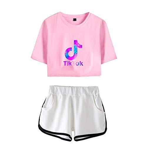 TIK TOK Conjunto 2 Piezas Mujer Verano Completo Sportivo Short y Crop Top Chandal Gimnasio Traje de Running Ropa Fitness Sportwear Tracksuit Sweatsuit Streetwear X03649TXDKPKWHXL