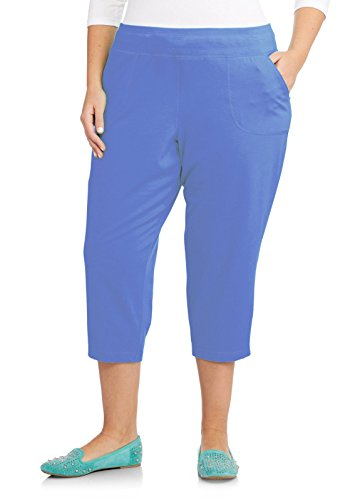 Just My Size French Terry Womens Pocket Capri Pants, Blink Blue Heather, 3X