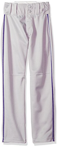 Alleson Ahtletic Men's Baseball Pants with Braid, Grey/Purple, X-Large