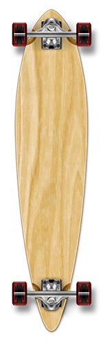 Yocaher Blank or Checker Skateboards Longboard Complete Pintail w/Black Widow Premium 80A Grip Tape Aluminum Alloy Truck ABEC7 Bearing 70mm Skateboard Wheels (Complete-Pintail-01-Nature)