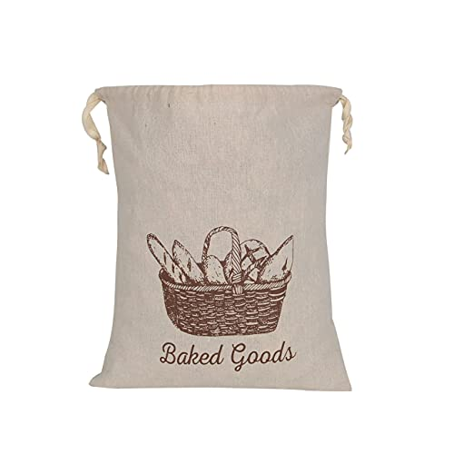 Bread Bags For Home Made Bread 2 Pack - Linen Bread Bag Reusable Natural, Bread Loaf Bags, Reusable Produce Storage Veggie and Bread Keeper
