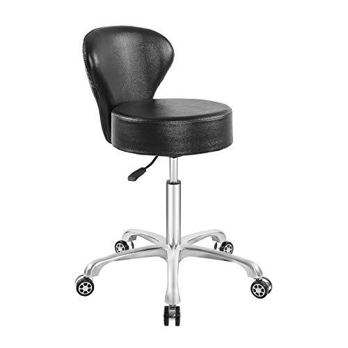 Hydraulic Rolling Stool Desk Chair Drafting Adjustable with Backrest Heavy Duty for Office Kitchen Medical Dentist Shop and Home (Without Footrest)
