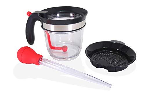 Wecker - Filtro separador de grasa y salsa para 4 tazas, 1 litro, con botón de liberación inferior, con cesto de pavo