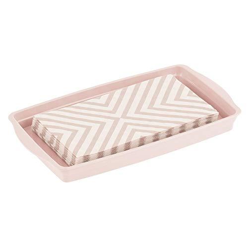 mDesign Bandeja para joyas y maquillaje – Pequeña bandeja de plástico con asas para ordenar el maquillaje o dejar el reloj – Organizador de cosméticos para baño, armario y cómoda – rosa claro