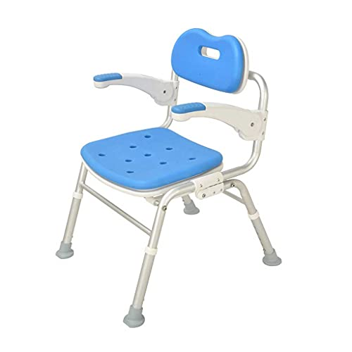 Diaod Silla de baño, Silla de baño Silla de Ducha de Aluminio Plegable para baño con Respaldo de reposabrazos para Ancianos, Mujeres Embarazadas, niños, Personas con discapacidades (Color : Blue)