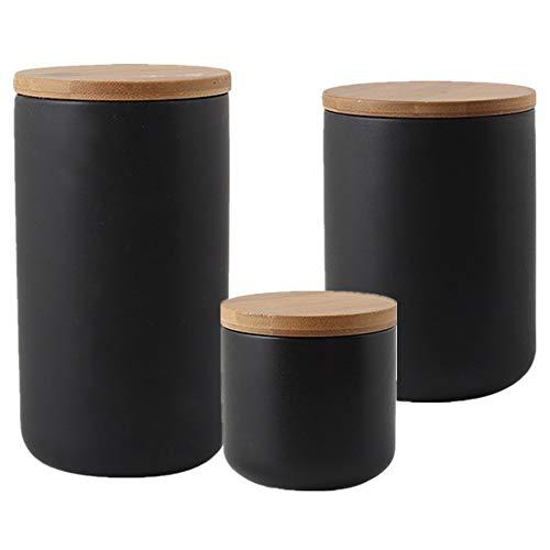 OnePine 3er Set Vorratsdosen Keramik mit Bambusdeckel Vorratsdose Kaffeedose Teedose - Keramik Aufbewahrungsdosen für Tee Kaffee Bohne Zucker Gewürz Nüsse Korn (260ml,800ml,1000ml)