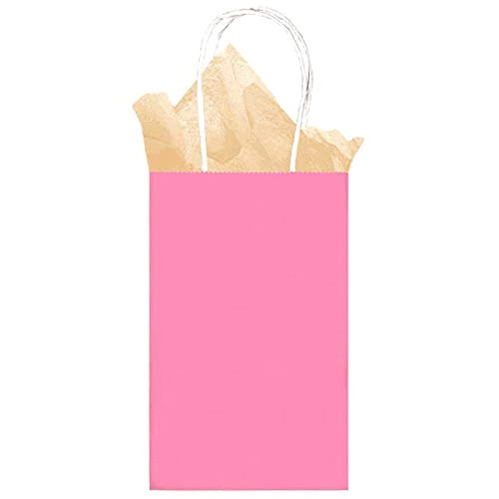 12 Pack Solid Pink Color Kraft Gift Bags - Medium Size 8