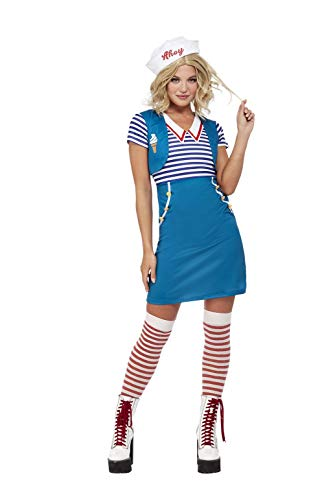 Smiffys Ice Cream Sailor Costume Disfraz de marinero de helado, color azul, L-UK Size 16-18 (63032L)