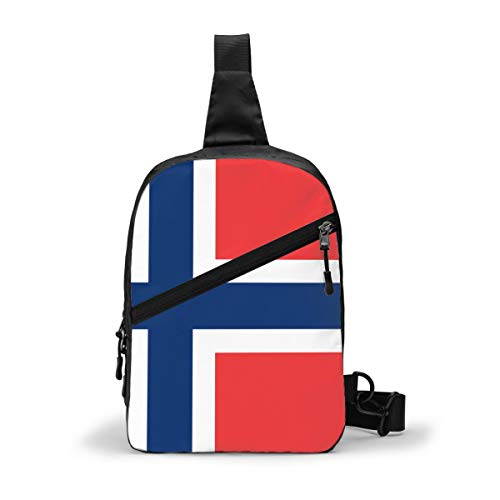Norwegische Flagge Brustpaket Mehrzweck-Crossbody Outdoor Schultertasche Daypack Sling Rucksack Große Kapazität Casual Sport Rucksack für Wandern Reisen Sport
