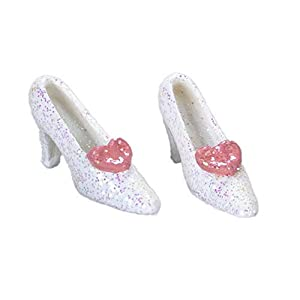 dollhouse white and pink glitter shoes miniature bedroom clothing accessory
