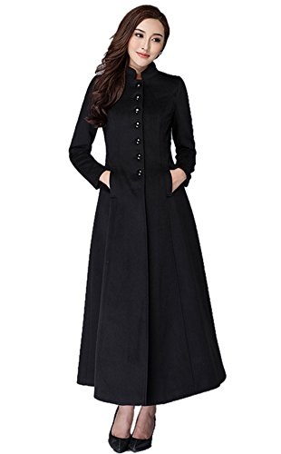 Chickle Women's Stand Collar Single Breasted Walker Long Wool Dress Coat L Black