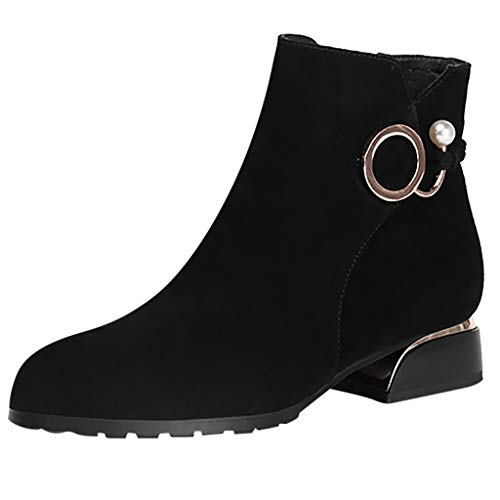 VJGOAL Damen Stiefel, 5CM Damen Mode Cool Round Toe Flache Lace-up PU Stiefel Casual Lackleder Winter Keile Schuhe (Schwarz, 37 EU)
