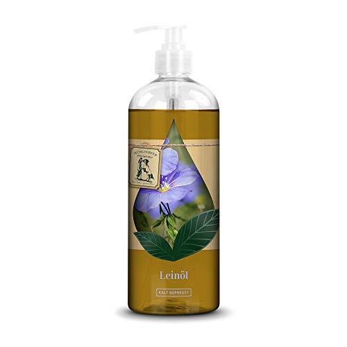 Mühldorfer Leinöl, 750 ml, kalt gepresst, eiweißarmer Energielieferant, positiv für die Verdauung, praktische Spenderflasche, für alle Pferde