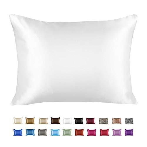 ShopBedding Luxury Satin Pillowcase for Hair – Standard Satin Pillowcase with Zipper, White...