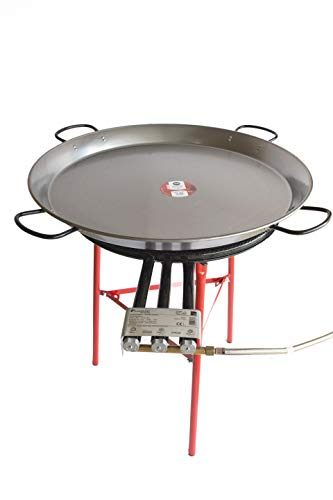 Paella Pan Polished Steel + Paella Gas Burner and Stand Set - Complete Paella Kit for up to 40 Servings