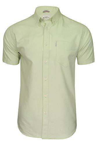 Ben Sherman Mens Oxford Shirt Short Sleeved Light Green L