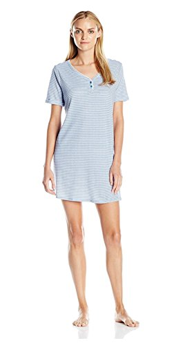 Karen Neuburger womens Karen Neuburger Women's Short Sleeve Sleepdress Pajama Pj, Stripe Bay BlueLarge