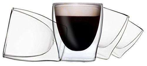 DUOS 4X 80ml Set doppelwandige Espressogläser mit Schwebe-Effekt, Türk.Tee