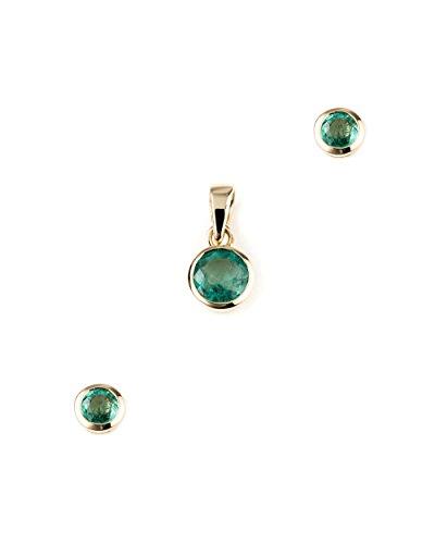 Jaipuri.Instyle - Damen Schmuckset - 585er Gold (14 K) - Set mit Smaragd AA-Qualit䴠- P5746ZE-E3937ZE