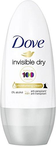 Dove Deo Roll-On Invisible Dry Anti-Transpirant (48 Stunden Schutz mit 0% Alkohol und 1/4 Pflegecreme), 1 Stück (1 x 50 ml)