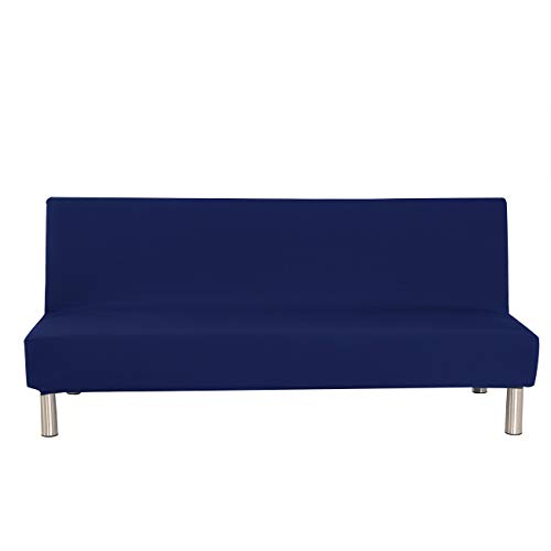 Solid Colour Armless Sofa Bed Cover Polyester Spandex Stretch Futon Slipcover Protector 3 Seater Elastic Full Folding Couch Sofa Shield fits Folding Sofa Bed without Armrests 80' x 50' in (Dark Blue)