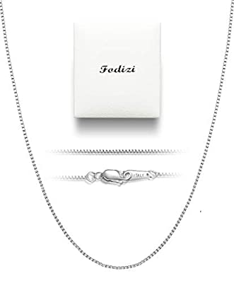 Fodizi 18K Gold Plated Sterling Silver Chain for Necklace Women Girl Italy Silver Chain Necklace 0.8mm 925 Sterling Box Chain - 16/18/20/22/24 Inch
