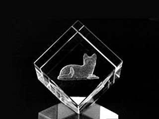 Asfour Crystal 1160-50-05 2 L x 2 H x 2 W in. Crystal Laser-Engraved Cat Animals and Nature Laser-Cut