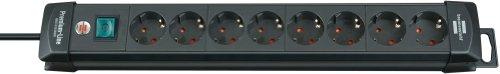 Brennenstuhl Premium-Line, Steckdosenleiste 8-fach (Steckerleiste mit Schalter und 3m Kabel - 45° Winkel der Schutzkontakt-Steckdosen, Made in Germany) schwarz