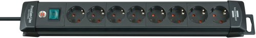 Brennenstuhl Premium-Line Stekkerdoos, 8-voudig (stekkerdoos met schakelaar en 3 m kabel - 45 graden) zwart