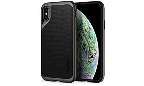 Spigen [Neo Hybrid Cover iPhone XS, con Protezione Interna Flessibile e Telaio Rigido Rinforzato per iPhone XS 5.8-inch (2018) - Gunmetal (063CS24918)