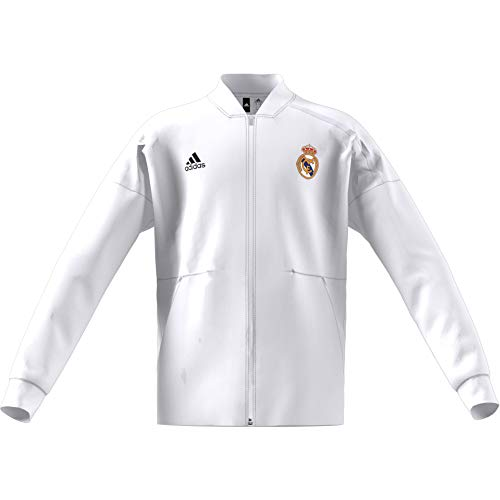 adidas Real Madrid Anthem Jacket, Blanc/Noir, 164 cm Mixte E