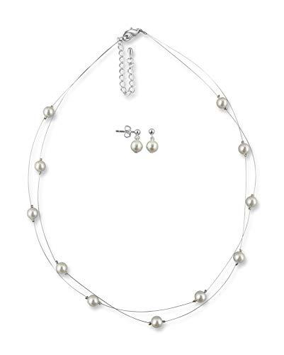 Rivelle Damen Schmuckset Hochzeit creme Brautschmuckset Perlen Ohrringe Collier Kette Modeschmuck Geschenkbox