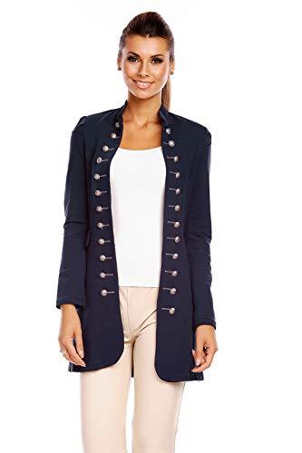 6062 Damen Jacke Blazer Admiral Uniform Mantel mit Military Knopfleiste Dunkelblau-XL