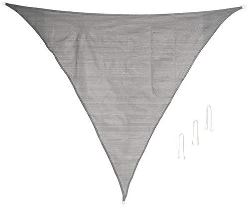 Royal Gardineer Seilspannsonnensegel: Sonnensegel für Terrasse und Garten, dreieckig, 3 x 3 x 4,25 m, grau (Seilspann-Markisen)