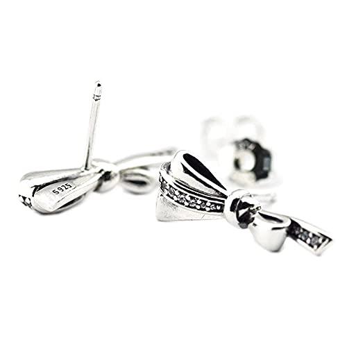 Gflyme 2021 Madre regalo brillante arcos pendientes de tuerca CZ transparente plata 925 DIY se adapta a pulseras originales Pandora encanto joyería de moda